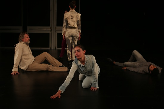 (L to R) Robert Steijn, Biba Bell, Maria Hassabi, and Andros Zins-Browne in Premiere. Photo: Paula Court