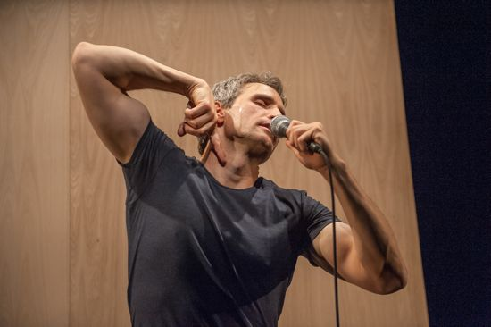 Peter Simpson in a dance of voice and fingers. Photo: Stephanie Berger