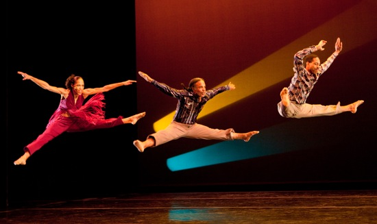 Classic Fagan dancers (L to R): Natalie Rogers, Steve Humphrey, and Norwood Pennewell in  Garth Fagan's 2010 Thanks Forty. Photo: Yi-Chun Wu.