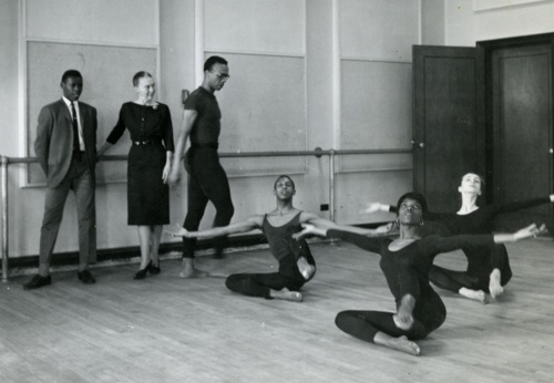 Martha Hill watching Donald McKayle work with Juilliard dancersl; to her right: Wlliam Louther(?). On the floor (L to R): Dudley Williams, Mabel Robinson, and Pina Bausch, 1959/60. Photo courtesy of the Martha Hill Archives