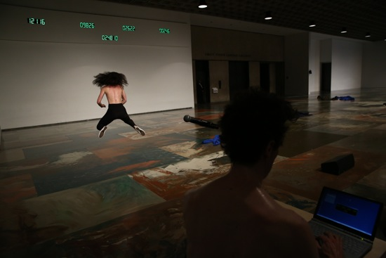 Rachel Berman in Sarah Michelson's 4 at the Whitney; James Tyson at the laptop. Photograph © Paula Court