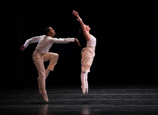 Juilliard students Leiland Charles and Brittany Hill in Twyla Tharp's Baker's Dozen. Photo: Rosalie O'Connor