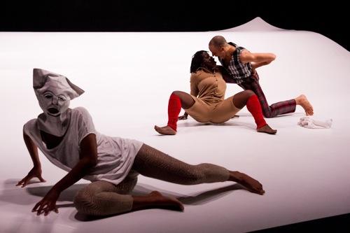 Alain Bouffard's Baron Samedi. Masked: Dorothée Munyaneza. Behind her: Nadia Beugré and Will Rawls. Photo: Ian Douglas