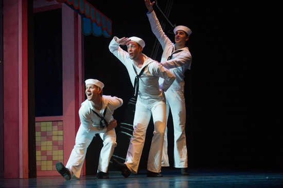 L to R: Daniel Ulbricht, Tyler Angle, Robert Fairchild in Jerome Robbins's Fancy Free. Photo: Christopher Duggan