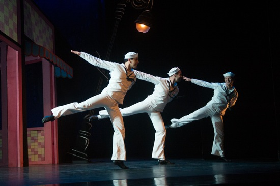Three sailors on the town. (L to R) Robert Fairchild, Tyler Angle, and Daniel Ulbricht. Photo: Christopher Duggan