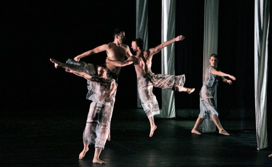 Trisha Brown's Set and Reset. (L to R): Megan Madorin, Nicholas Strafaccia, Neal Beasley, and Tara Lorenzen. Photo: Cory Weaver