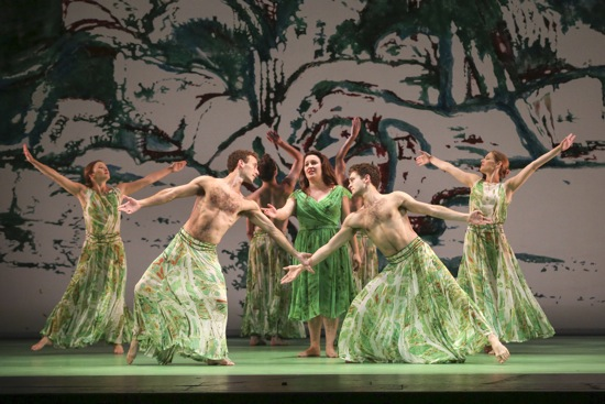 Galatea sings of her love to (L to R) Rita Donohue, Aaron Loux, Maile Okamura, and Jenn Weddel. Photo: Richard Termine/Lincoln Center