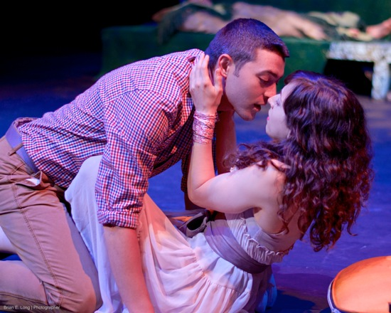 Shakespeare's lovers: Lysander (Seth Shirley) and Hermia (Amanda Goble). Photo: Brian E. Long