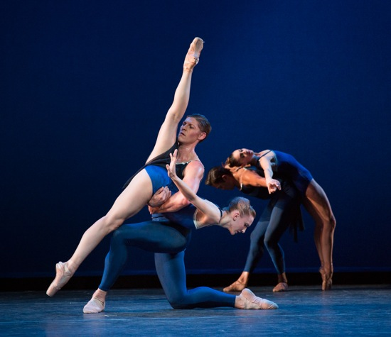 Pacific Northwest Ballet dancers in Christopher Wheeldon's Tide Harmonic. (L to R): Elizabeth Murphy, Joshua Grant, Batkhural Bold, and Laura Tisserand. Photo: Yi-Chun Wu