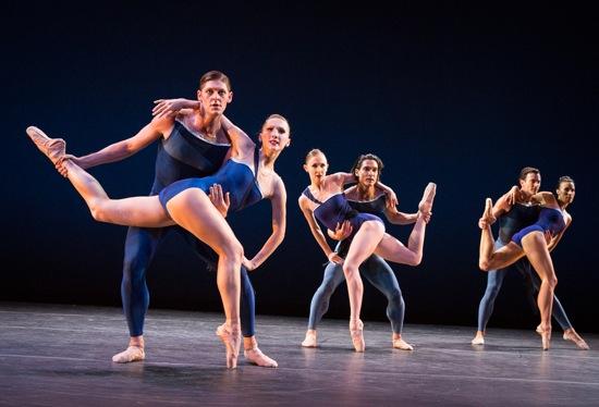 Christopher Wheeldon's Tide Harmonic. (L to R): Elizabeth Murphy and Joshua Grant, Margaret Mullin and James Moore, Lindsi Dec and Jerome Tisseraud. Photo: Yi-Chun Wu