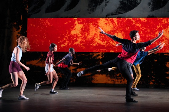 L.A. Dance Project members (L to R): Rachelle Rafailedes, Stephanie Amauro, Randy Castillo, Morgan Lugo, and (hidden) Aaron Carr and Anthony Bryant. Photo: Julieta Cervantes