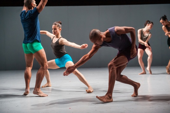 (Foreground, L to R): Batsheva's Oscar Ramos, Iyar Alezra, and Shamel Pitts. Photo: Stephanie Berger