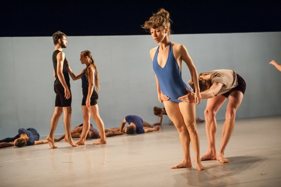 Ohad Naharin's Sadeh21. (L to R): Omni Drumlevich, Bobbi Smith, Adi Zlatkin, and Ian Robinson. Photo: Stephanie Berger