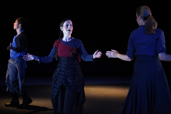 L to R: Sidney Chen, Meredith Monk, and Katie Geissinger in On Behalf of the Planet. Photo: Julieta Cervantes