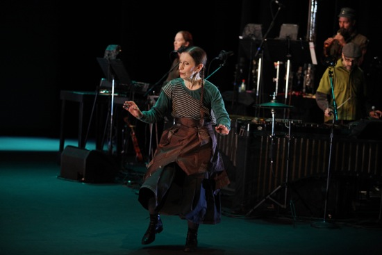 Meredith Monk and at back (L to R): Allison Sniffin, Bohdan Hilash, and John Hollenbeck. Photo: Julieta Cervantes