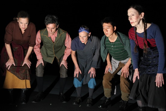 L to R: Katie Geissinger, Bruce Rameker, Ellen Fisher, Sidney Chen, and Meredith Monk. Photo: Julieta Cervantes