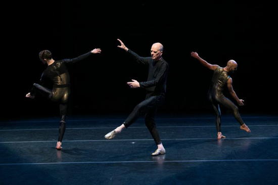 (L to R): Timothy Ward, Douglas Dunn (not in costume), and Paul Singh in Dunn's Aidos. Photo: Christopher Duggan