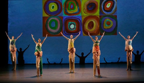 Alexei Ratmansky's Pictures at an Exhibition. (L to R) Gretchen Smith, Lauren Lovette, Sterling Hyltin, Indiana Woodward, Sara Mearns and their invisible partners (Adrian Danchig-Waring, Gonzalo Garcia, Tyler Angle, Joseph Gordon, Amar Ramasar. Photo: Paul Kolnik