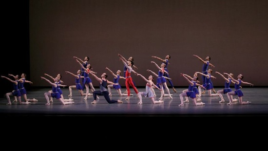 Christopher Wheeldon's Mercurial Manoeuvres. Foreground: Jared Angle and Tiler Peck. Photo: Paul Kolnik