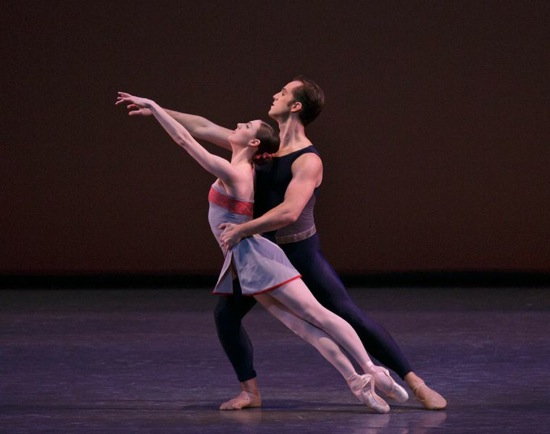 Tiler Peck and Jared Angle in Christopher Wheeldon's Mercurial Manoeuvres. Photo: Paul Kolnik