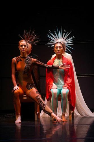 Jessica Martineau (L) and Jin Ju Song Begin in Douglas Dunn's Aidos (dress rehearsal). Photo: Christopher Duggan