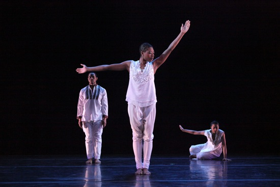 (L to R): Keon Thoulouis, Brionna Edmundson, and Clarice Young in Ronald K. Brown's The Subtle One. Photo: Ayodele Casel
