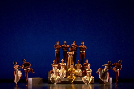 Members of the José Limón Dance Company in Doris Humphrey's Passacaglia and Fugue in C Minor. Standing center: Kristen Foote; seated center: Durrell R. Comedy. Photo: Melanie Futorian