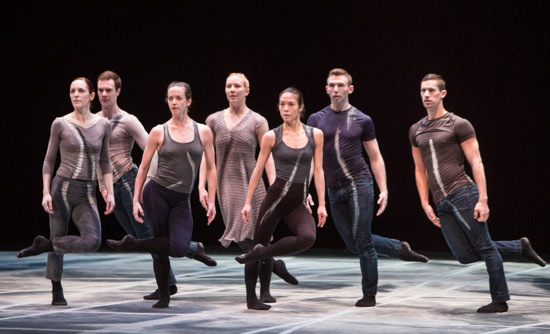 Member of Shen Wei Dance Arts performing Shen's Rite of Spring on Paul Taylor's American Modern Dance season. (L to R): Sara Procopio, Russell Stuart Lilie, Kate Jewett, Jessica Harris, Cynthia Koppe, Michael Wright, Jordan Isadore. Photo: Yi-Chun Wu