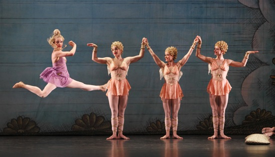 An earlier cast in Paul Taylor's Troilus and Cressida (reduced). Jamie Rae Walker as Cressida. Three  Cupids (L to R): Kristi Tonga, Eran Bugge, and Heather McGinley. Photo: Paul B. Goode