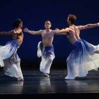 L to R: Domingo Estrada, Jr., Dallas McMurray, and Aaron Loux in Mark Morris's Pacific. Photo: Hilary Schwab
