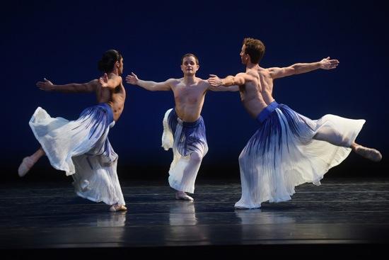 L to R: Domingo Estrada, Jr., Dallas McMurray, and Aaron Loux in Mark Morris's Pacific. Photo: Hilary Schwab