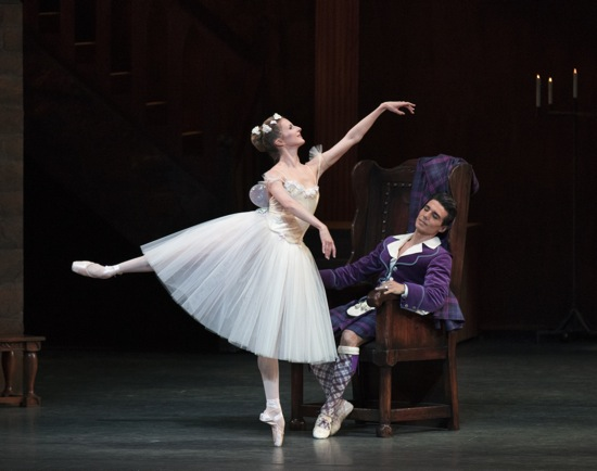 Sterling Hyltin as Bournonville's Sylphide dances her love for the sleeping James (Joaquin De Luz). Photo: Paul Kolnik