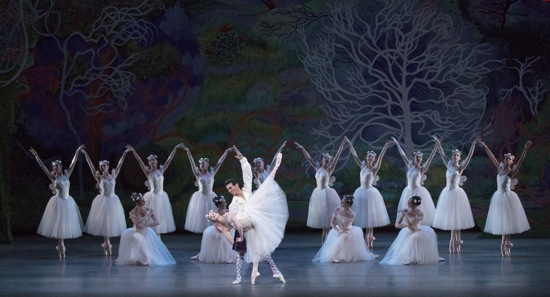 Sterling Hyltin, Joaquin De Luz, and the sylph's companions in Act Ii of La Sylphide. Photo; Paul Kolnik Choreography by August Bournonville, staged by Peter Martins New York City Ballet   Credit Photo: Paul Kolnik studio@paulkolnik.com nyc 212-362-7778