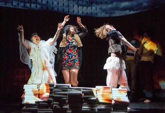 L to R: Alice Klugherz, Leslie Cuyjet, and Abigail Levine in Mark Dendy's new work. Photo: Yi-Chun Wu