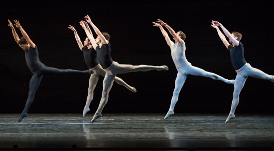 Kenneth MacMillan's Song of the Earth. At left: Carlos Acosta. In white: Nehemiah Kish. Photo: Yi-Chun Wu