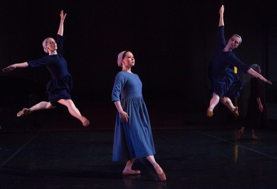 Rie Ogura (center) in Dark Elegies. Leaping (L to R): Carmella Lauer and Amanda Treiber. Photo: Yi-Chun Wu
