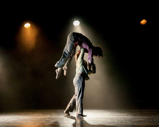 Nickemil Concepcion hoisting Guillaume Quéau in Crystal Pite's work. Photo: Sharon Bradford
