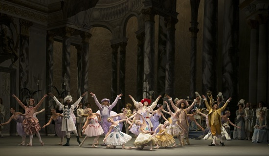 An Act I scene in  Alexei Ratmansky's The Sleeping Beauty: the gift-bearing fairies and their six cavaliers. Photo: Gene Schiavone.
