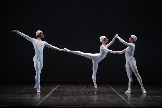 (L to R): Ricardo Rhodes, Victoria Hulland, and Francisco Graziano in Frederick Ashton's Monotones II. Photo: Gene Schiavone