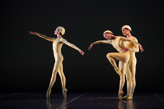 (L to R): Samantha Benoit, Ryoko Sadoshima, and Alex Harrison in Frederick Ashton's Monotones I. Photo: Frank Atura