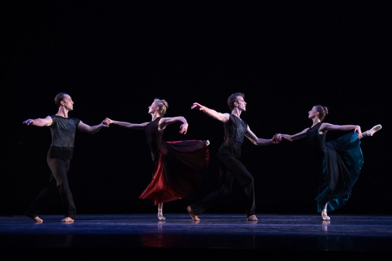 Justin Peck's Sea Change. (L to R): Jared Angle, Sterling Hyltin, Russell Janzen, and Sara Adams. Photo: Christopher Duggan