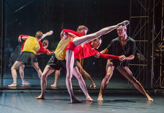 Tree of Codes' Travis Clausen-Knight (in yellow) and Louis McMiller assist Marie-Agnès Gillot. Photo: ©Stephanie Berger