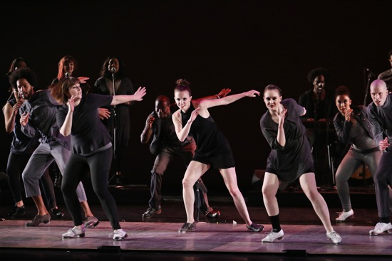 Dorrance Dance in Michelle Dorrance's Myelination: (L to R): Leonardo Sandoval, Megan Bartula, Christopher Broughton, Michelle Dorrance, Elizabeth Burke, Claudia Rahardjanoto, Warren Craft. Photo: Julieta Cervantes