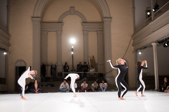 L to R: Lizzie Feidelson, Benny Oik, and Irene Hultman in Moriah Evans's new work. Photo: Ian Douglas