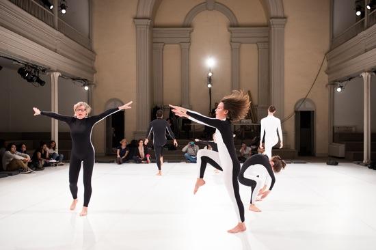 Moriah Evans's Social Dance 9-12: Encounter. (L to R): Iréne Hultman, Rashaun Mitchel, Lydia Okrent, Lizzie Feidelson, and Benny Olk. Photo: Ian Douglas