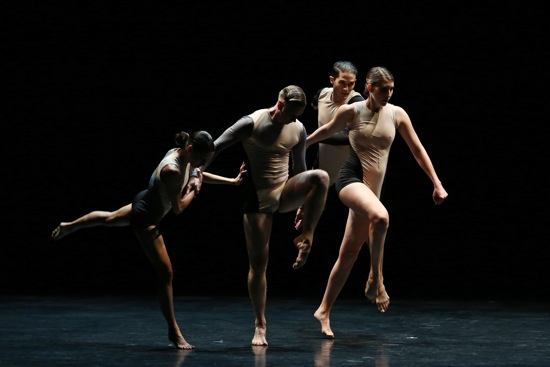 Stephen Petronio's Locomotor: (L to R) Jaqlin Medlock, Gino Grenek, Joshua Tuason, and Emily Stone. Photo: Julieta Cervantes