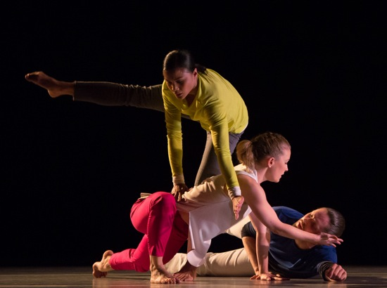 Antonette Dayrit (standing), Natalie Allen, and Wayne Parsons in Thomas Whitley's The Grit in the Oyster. Photo: Kevin Yatarola.