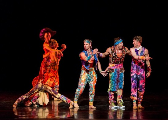 Tharp's Yowzie. In front, upended: Rika Okamoto. L to R: Kaitlyn Gilliland, Amy Ruggiero, Matthew Dibble, John Selya, and Ron Todorowski. Photo: Sharen Bradford - The Dancing Image