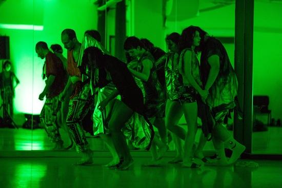 (L to R): Oren Barnoy, luciana achugar (masked), Shantelle Jackson, Molly Lieber, Rebecca Wender, Nikima Jagudajev, and Michael Mahalchick. Photo: Scott Shaw