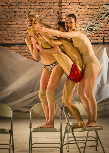 A moment in Andrea Miller's Whale. (L to R): Céline D'Hont, Paul Vickers, and Gwyn Mackenzie. Photo: Yi-Chun Wu